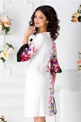 Rochie Ira alba cu motive florale roz