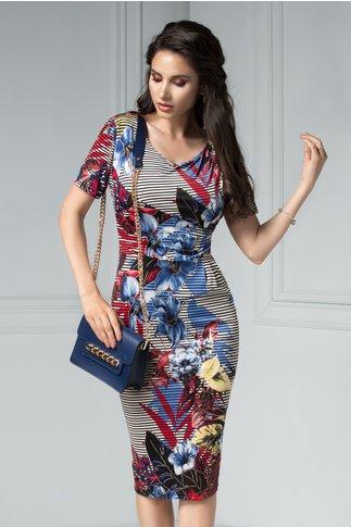 Rochie Ira Midi cu imprimeu floral albastru si dungi