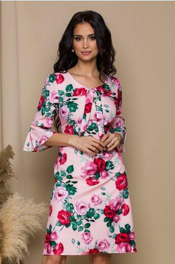 Rochie Ira roz cu trandafiri
