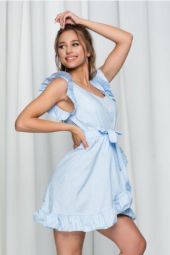 Rochie Irene bleu din poplin cu volanase si croi petrecut