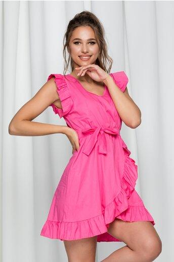 Rochie Irene roz din poplin cu volanase si croi petrecut