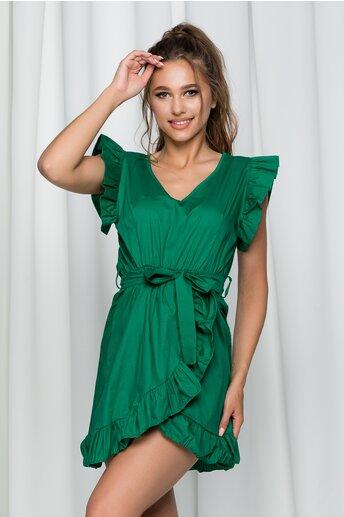 Rochie Irene verde din poplin cu volanase si croi petrecut