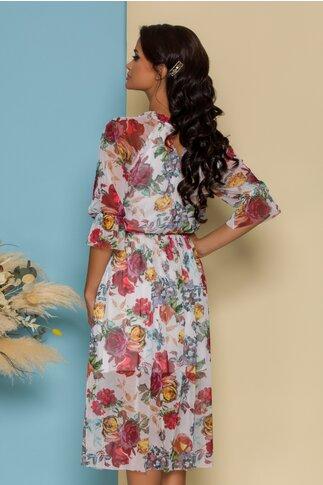 Rochie Irina din tull alba cu imprimeuri florale