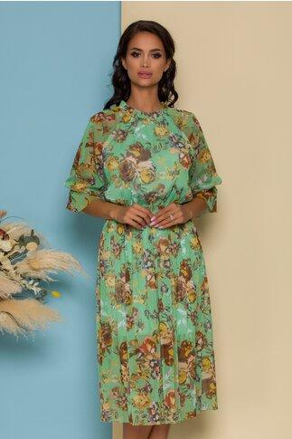 Rochie Irina din tull verde cu imprimeuri florale