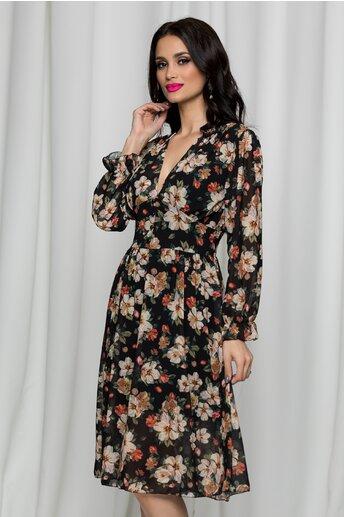 Rochie Irina neagra cu imprimeu floral si inchidere cu nasturi in fata