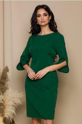 Rochie Irina verde inchis cu benzi aplicate la maneci
