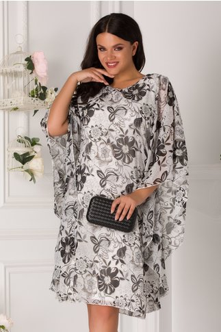 Rochie Irinell alba cu imprimeu floral gri