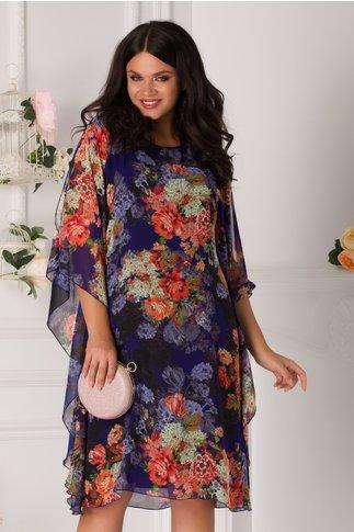Rochie Irinell albastra cu imprimeu floral colorat