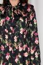 Rochie Iris neagra cu imprimeu floral roz