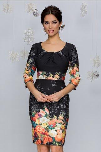 Rochie Irma neagra cu imprimeu floral in nuante de galben