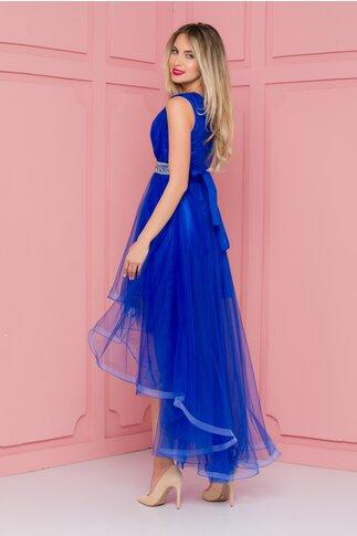 Rochie Isabel albastra din tull cu pliuri la bust si cordon in talie