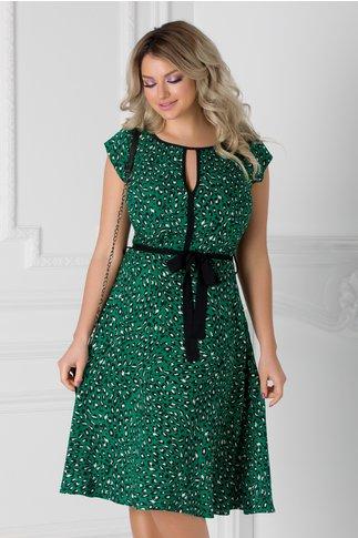 Rochie Isabel verde cu animal print si cordon in talie