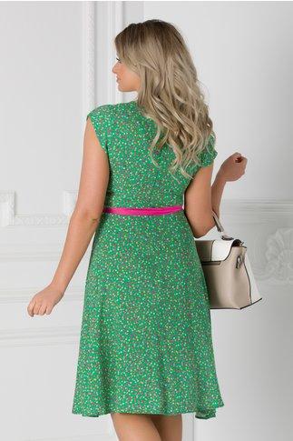 Rochie Isabel verde cu floricele si cordon in talie