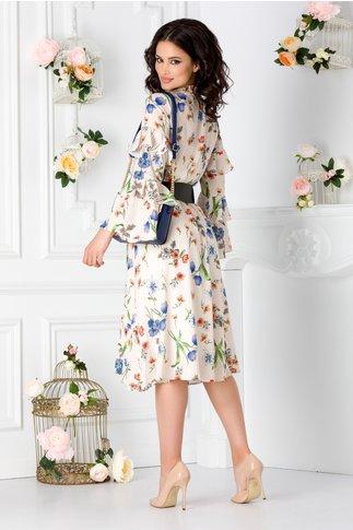 Rochie Isabela bej cu imprimeu floral colorat si curea in talie