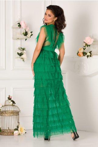Rochie Isabela lunga verde din tull cu volane