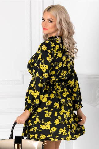 Rochie Isabela neagra cu flori galbene
