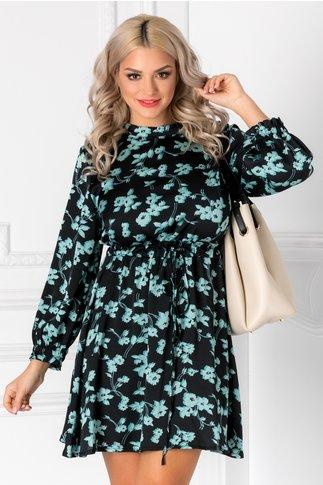 Rochie Isabela neagra cu flori turcoaz