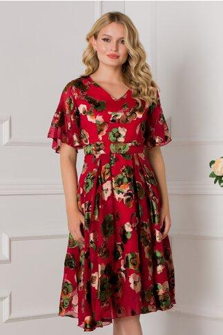 Rochie Isabela rosie cu flori