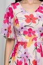 Rochie Isabela roz cu imprimeu floral si maneci scurte