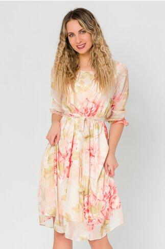 Rochie Isabella bej cu imprimeuri florale corai