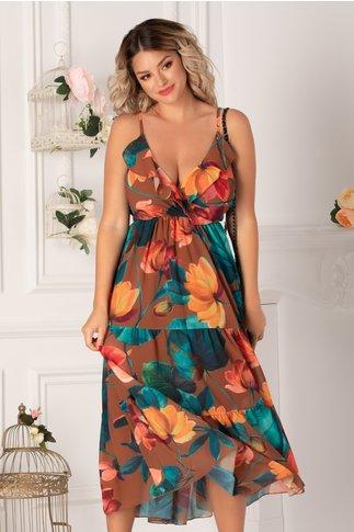 Rochie Isabella maro cu flori mari orange