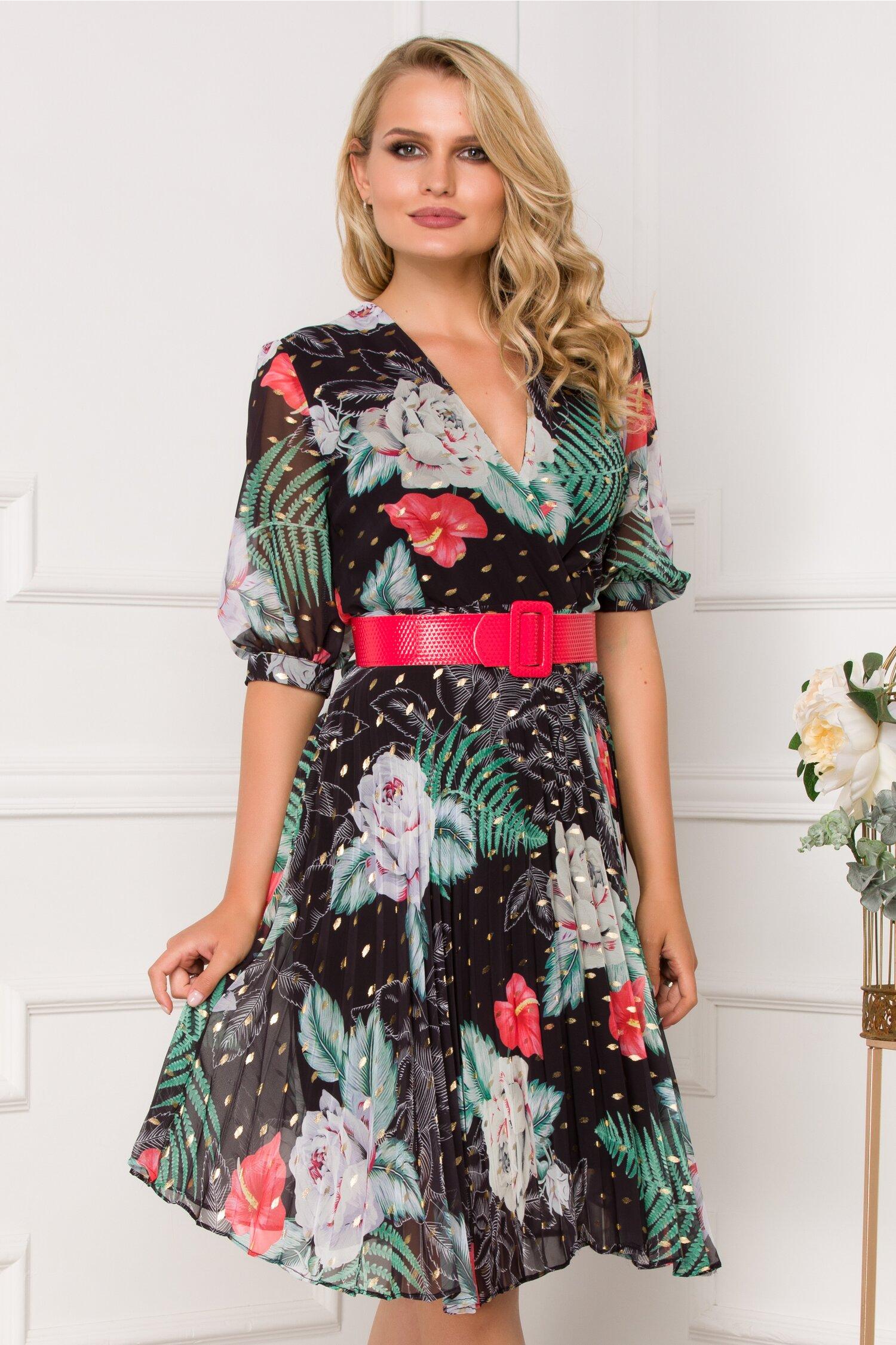 Rochie Isabella neagra cu imprimeu floral si fusta plisata
