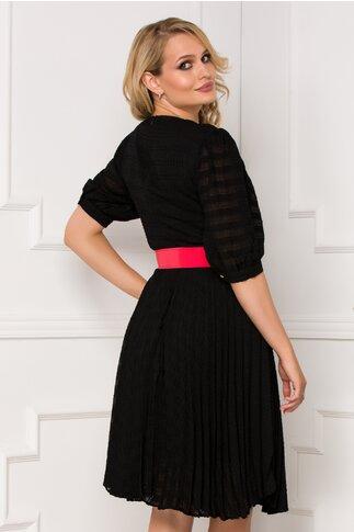 Rochie Isabella neagra si fusta plisata