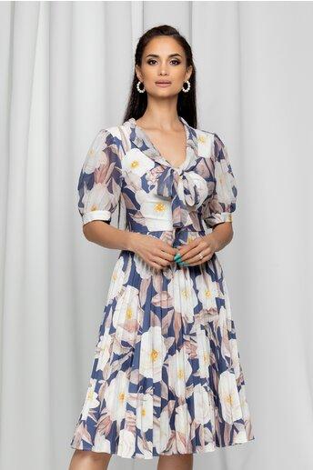 Rochie Isadora bleumarin cu guler tip esarfa si imprimeu floral