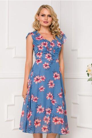 Rochie Isara bleu cu imprimeu floral si volanase la bust