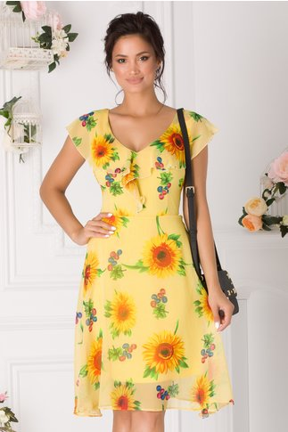 Rochie Isara galbena cu imprimeu floral si volanase la bust