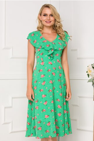 Rochie Isara verde cu imprimeu floral si volanase la bust