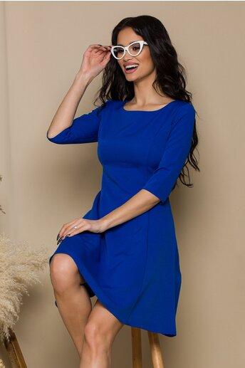 Rochie Iselin albastra cu maneci trei sferturi