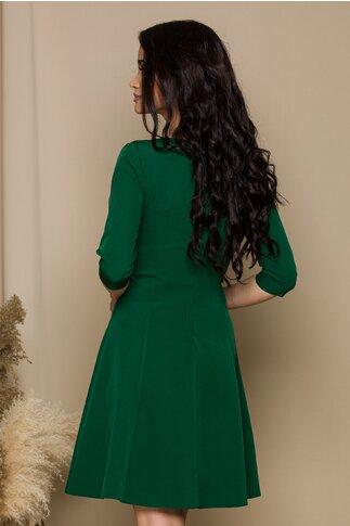 Rochie Iselin verde cu maneci trei sferturi