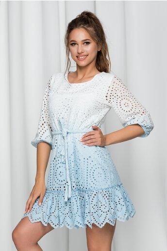 Rochie Isolda bleu in degrade cu model ajurat