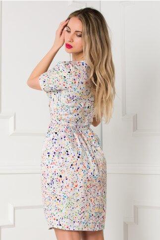 Rochie Iulia alba cu imprimeuri multicolore