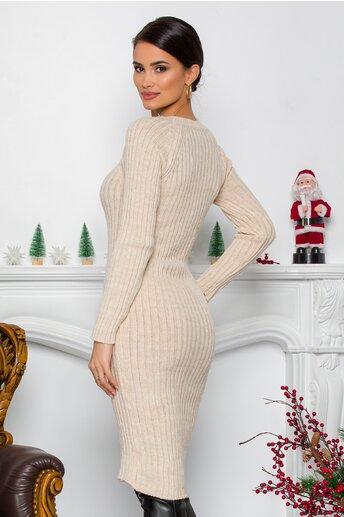 Rochie Iuliana ivory din tricot reiat