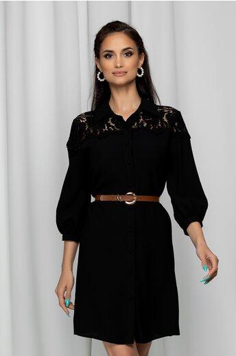 Rochie Iustina neagra tip camasa accesorizata cu dantela