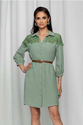 Rochie Iustina verde mint tip camasa accesorizata cu dantela