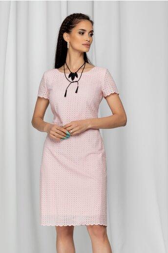 Rochie Iva roz cu maneci scurte si model ajurat