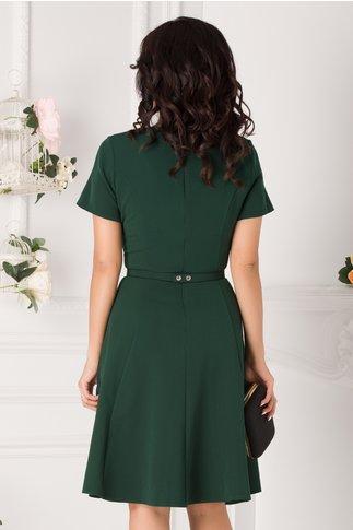 Rochie Ivette verde inchis cu decupaj si decolteu accesorizat