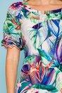 Rochie ivoire cu imprimeu floral multicolor cu fronseuri