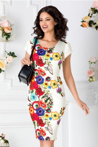 Rochie ivoire cu maneci scurte si imprimeu floral colorat