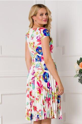 Rochie Ivonne alba cu maneci scurte si imprimeu floral colorat
