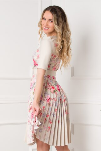 Rochie Ivonne bej cu fusta plisata si imprimeu floral
