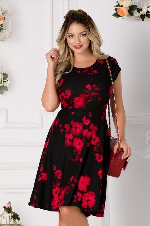 Rochie Ivy neagra cu flori rosii