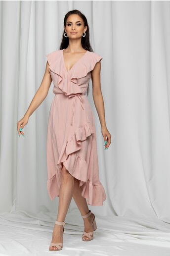 Rochie Izabele roz petrecuta accesorizata cu volanase