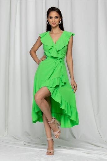 Rochie Izabele verde neon petrecuta accesorizata cu volanase