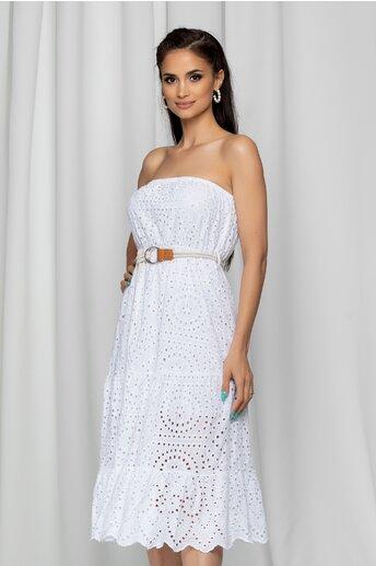 Rochie Izabella alba fara bretele cu modej ajurat