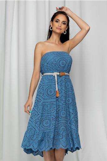 Rochie Izabella albastra fara bretele cu modej ajurat