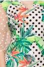 Rochie Jane bej cu imprimeu tropical si buline negre